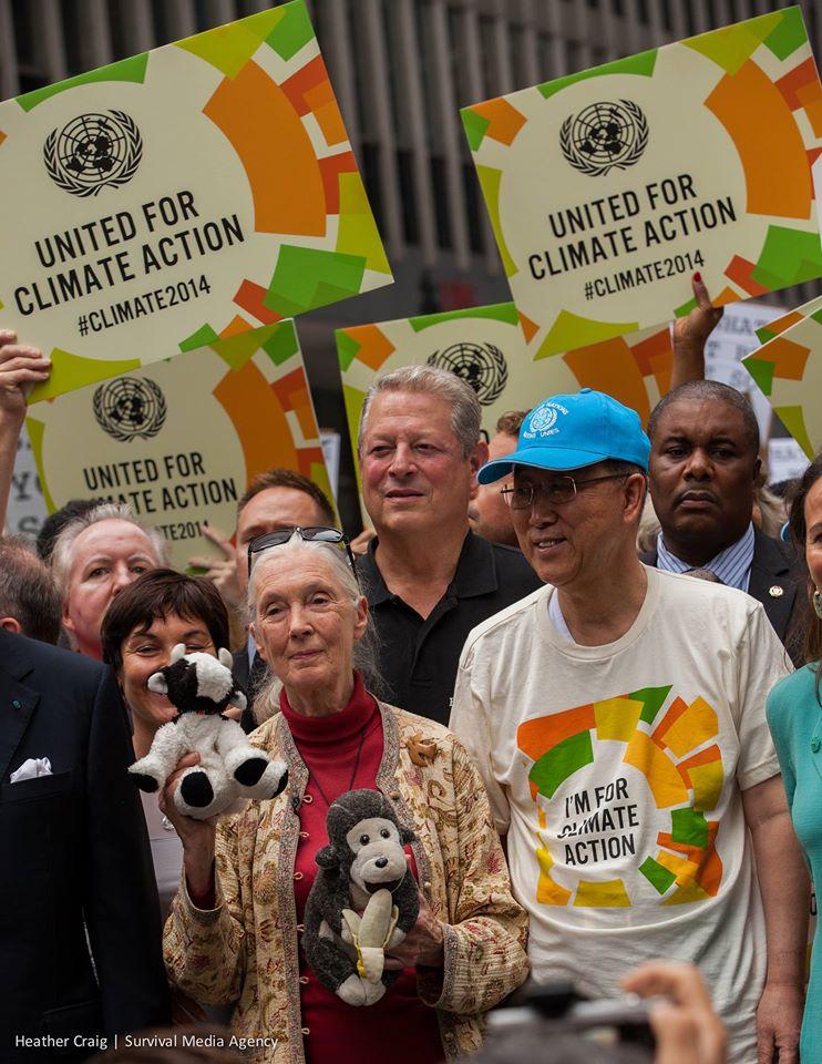国連の潘基文事務総長もClimate Marchに参加。ゴア元副大統領の姿も。